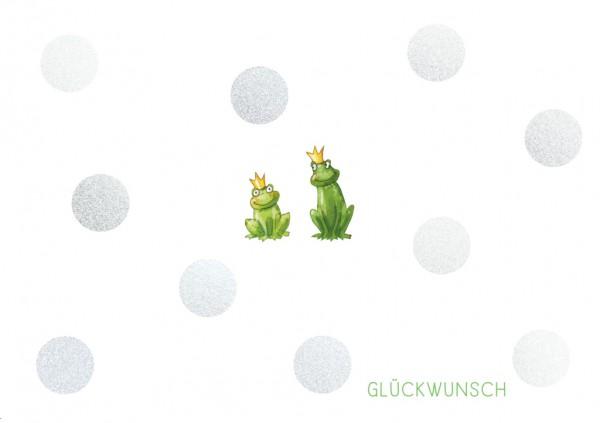Doppelkarte: Glückwunsch - 2 Frösche mit Krone