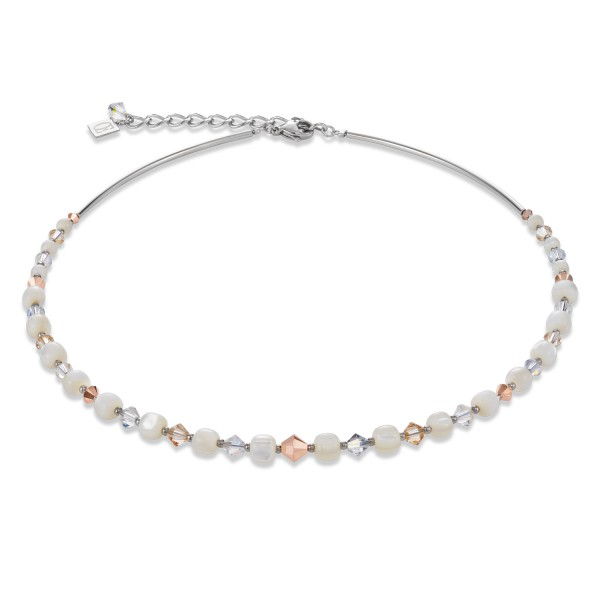 Halskette Swarovski® Kristalle & Edelstahl Perlmutt roségold-kristall