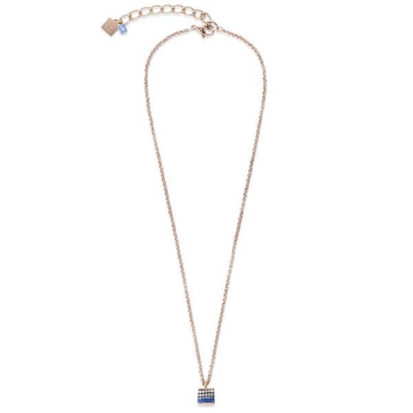 Halskette Cube Kristall Pavé & Edelstahl roségold & blau