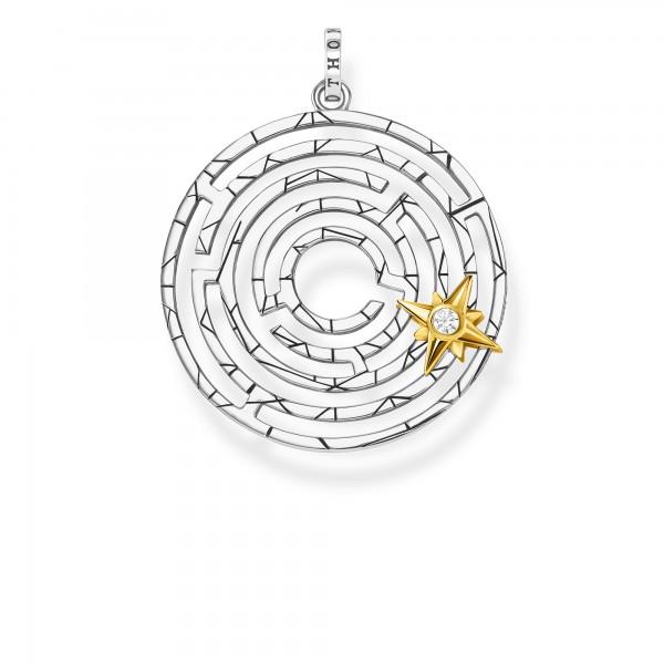 Anhänger Labyrinth mit Goldenem Stern beweglich