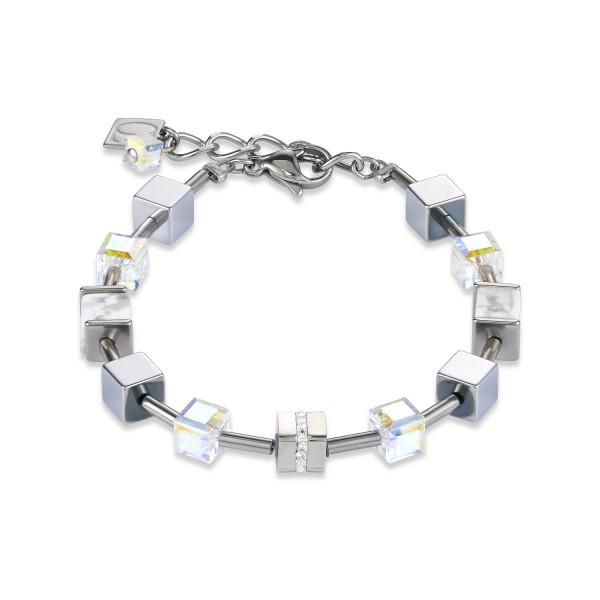 Armband GeoCUBE® Edelstahl & Kristall Pavé, Swarovski® Kristalle & Howlith silber-weiß-Copy