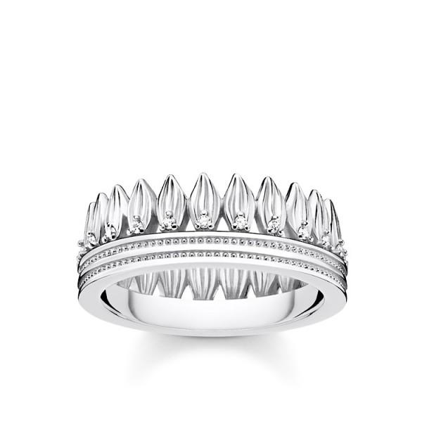 Ring Krone Blätter silber