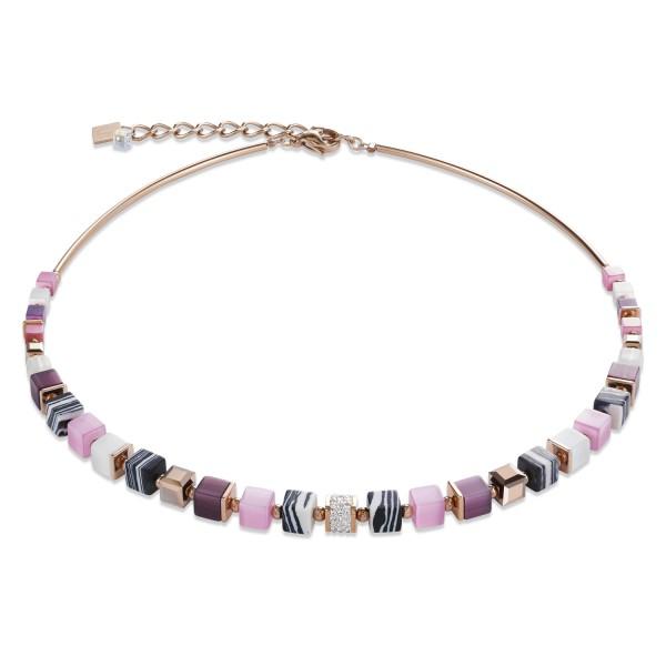 Halskette GeoCUBE® Kristalle Pavé, synthetischer Malachit & Swarovski® Kristalle rosa-lila