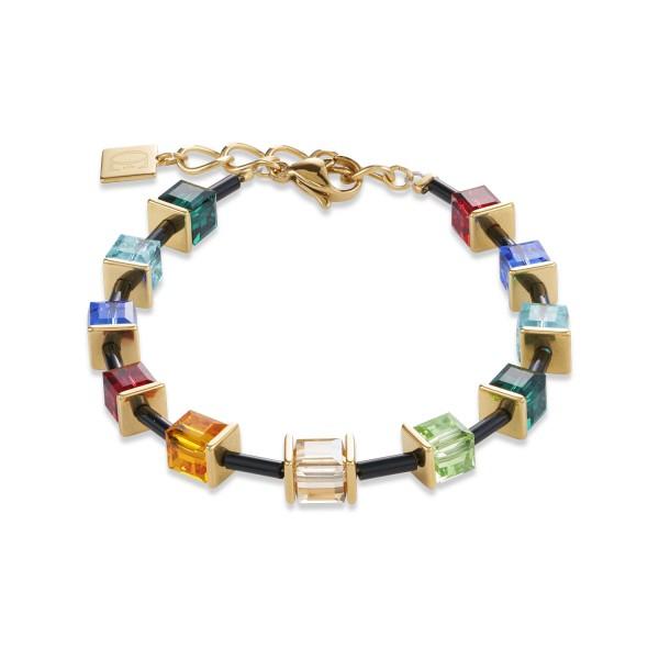 Armband GeoCUBE® Swarovski® Kristalle & Edelstahl multicolor-gold