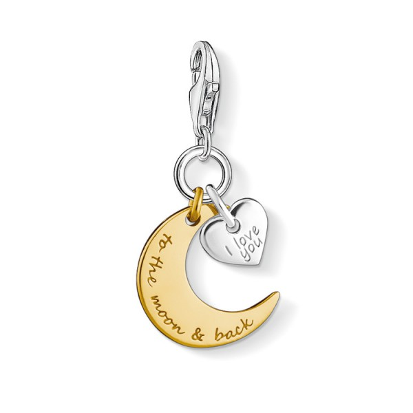 Charm-Anhänger Herz Mond I LOVE YOU TO THE MOON & BACK