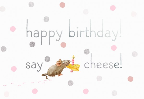 Doppelkarte: happy birthday! say cheese!
