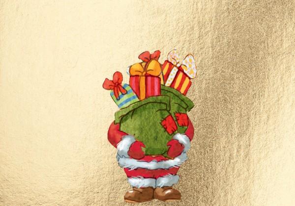 Mini-Doppelkarte:Weihnachtsmann mit Geschenken