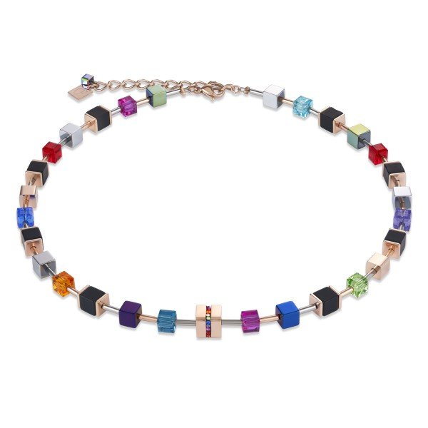 Halskette GeoCUBE® Swarovski® Kristalle & Edelstahl Onyx multicolor