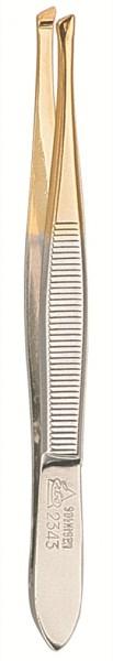 Pinzette 92343 schräg 9 cm gold