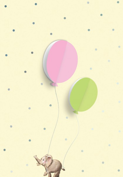 Postkarte: Ausklappballon