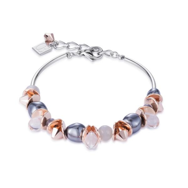 Armband frontline Swarovski Kristalle & Edelstahl roségold-grau