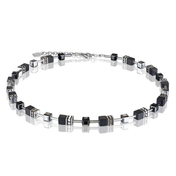 Halskette GeoCUBE® Onyx schwarz-silber
