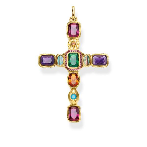 Anhänger Kreuz farbige Steine gold