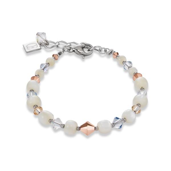 Armband Swarovski® Kristalle & Edelstahl Perlmutt roségold-kristall