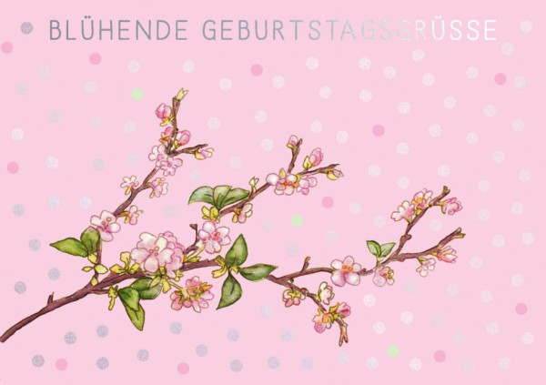Doppelkarte: Blühende Geburtstagsgrüße