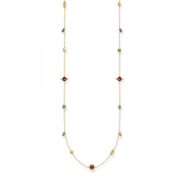 Halskette farbige Steine gold
