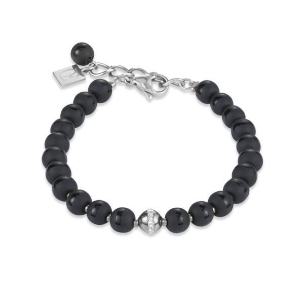 Armband Kugel Onyx & Edelstahl silber & Kristall Pavé schwarz