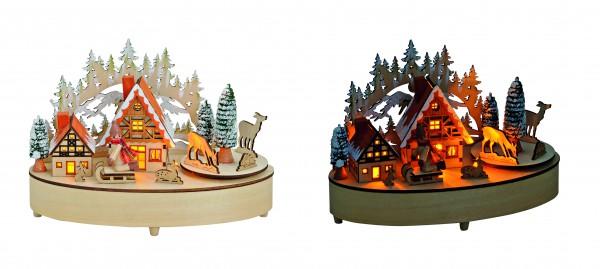 Winterszene mit Musik und LED Beleuchtung aus Holz
