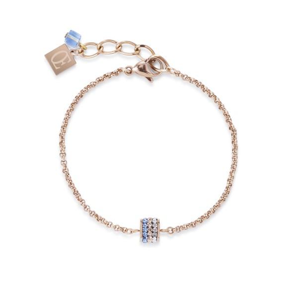 Armband Cube Kristall Pavé & Edelstahl roségold & blau-Copy