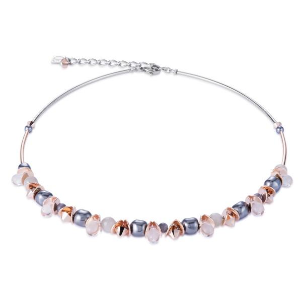 Halskette frontline Swarovski Kristalle & Edelstahl roségold-grau