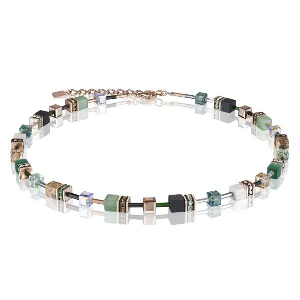 Halskette GeoCUBE® Swarovski® Kristalle & Edelsteine grün-beige