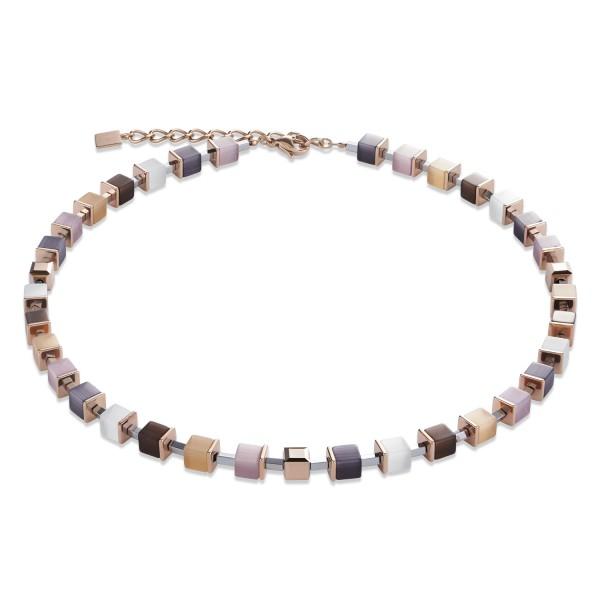 Halskette GeoCUBE® synthetisches Tigerauge & Swarovski® Kristalle beige-rosa-roségold