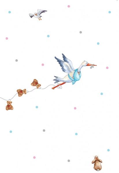 Doppelkarte: Storch - Zur Geburt