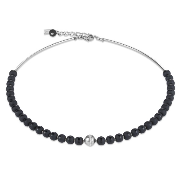 Halskette Kugel Onyx & Edelstahl silber & Kristall Pavé schwarz