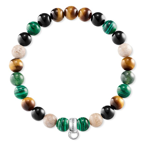 Charm-Armband braun grün weiß
