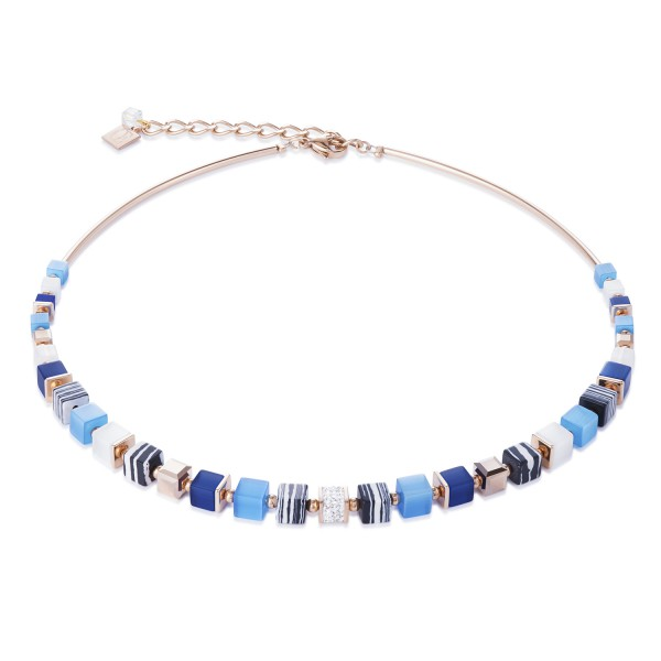 Halskette GeoCUBE® Kristalle Pavé, synthetischer Malachit & Swarovski® Kristalle blau-türkis