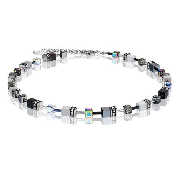 Halskette GeoCUBE® schwarz-weiß-hämatit