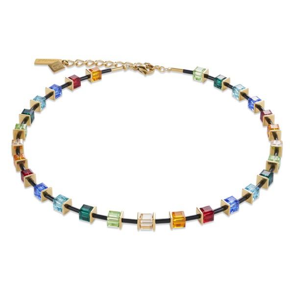Halskette GeoCUBE® Swarovski® Kristalle & Edelstahl multicolor-gold