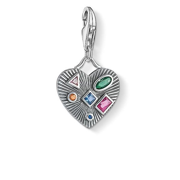 Charm-Anhänger Herz farbige Steine