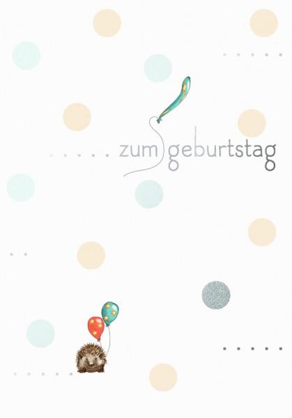 Doppelkarte: Zum Geburtstag - Igel mit Ballons