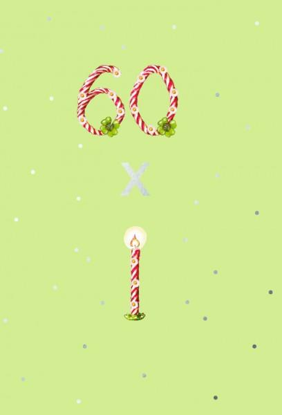 Doppelkarte: 60. Geburtstag - 60 x Kerzen