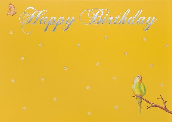 Doppelkarte: Happy Birthday - Kanarienvogel