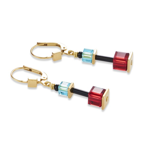 Ohrhänger GeoCUBE® Swarovski® Kristalle & Edelstahl multicolor-gold