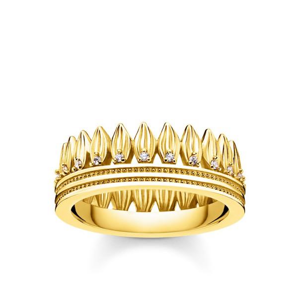 Ring Krone Blätter gold