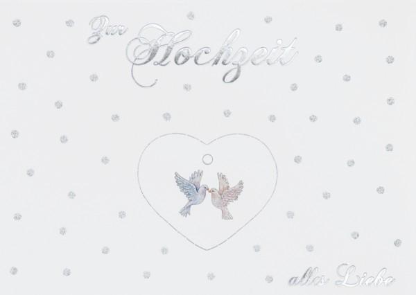 Doppelkarte: Zur Hochzeit alles Liebe - Tauben