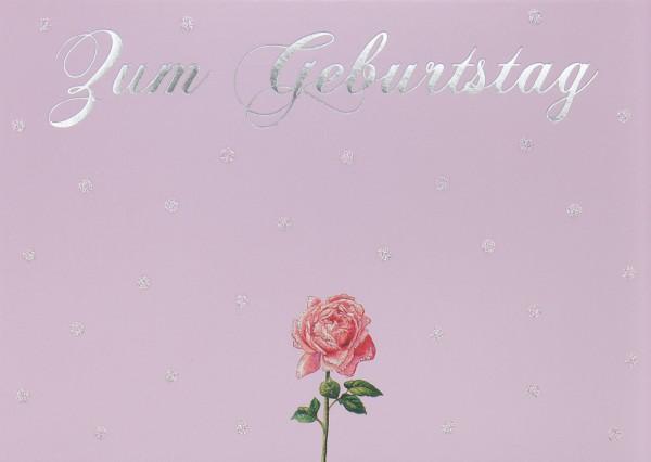 Doppelkarte: Zum Geburtstag - Rose