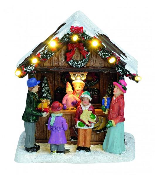 Weihnachtsmarkt-Stand mit Kranz